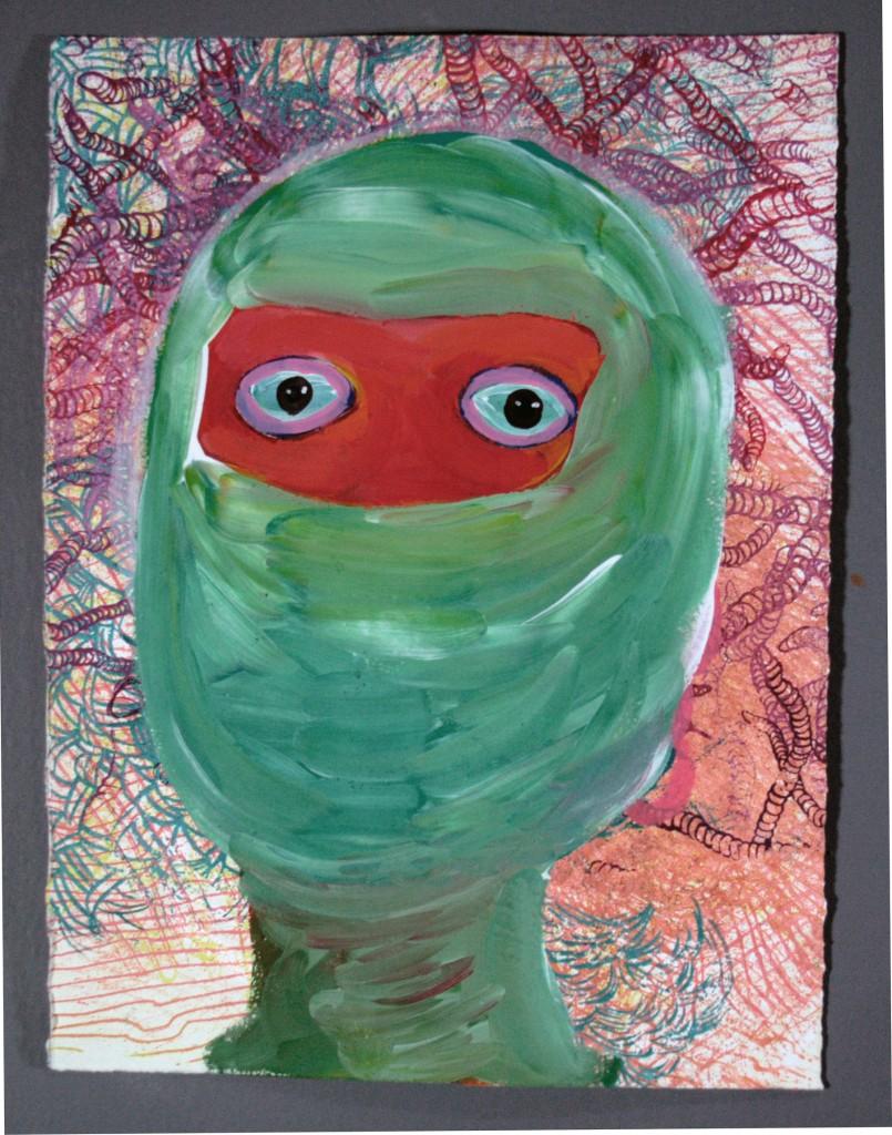 "Semi Self-Portrait as a Balaclava, mixed media on paper, 14 x 11"", 2010"